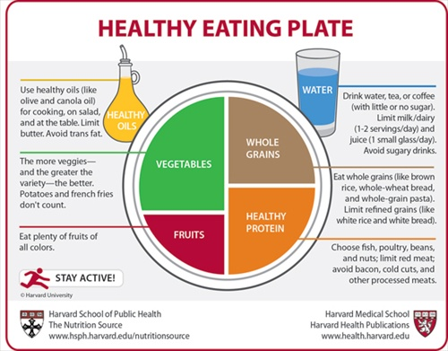 Harvard's Healthy Eating Plate giving more detail than USDA's My Plate about what's involved in a healthy diet